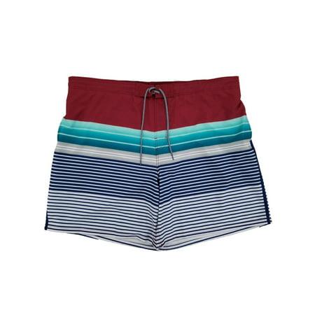 George Big Mens Wine Punch Stripe E-Board Swim Trunks 3XL