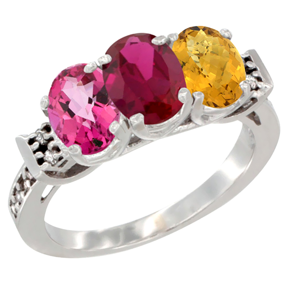 10K White Gold Natural Pink Topaz, Enhanced Ruby & Natural Whisky Quartz Ring 3-Stone Oval 7x5 mm Diamond Accent, sizes... by WorldJewels