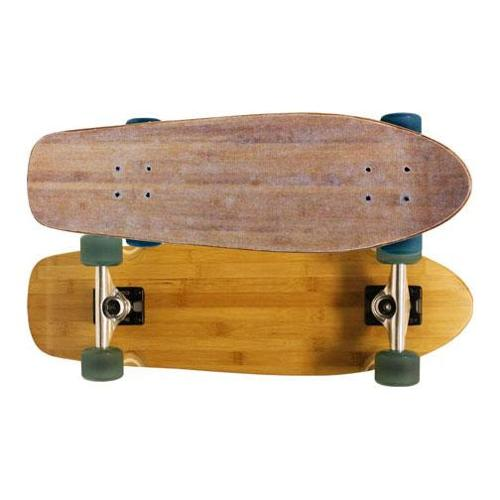 BAKED BAMBOO BEACH CRUISER SKATEBOARD COMPLETE Old School Shape Mini Lonboard
