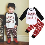 Toddler Kids Baby Boys Girls Christmas Clothes Long Sleeve Tops Shirt Legging Pants Outfit Set