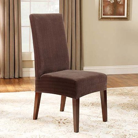 Sure fit stretch pinstripe short dining room chair for 4 dining room chair covers