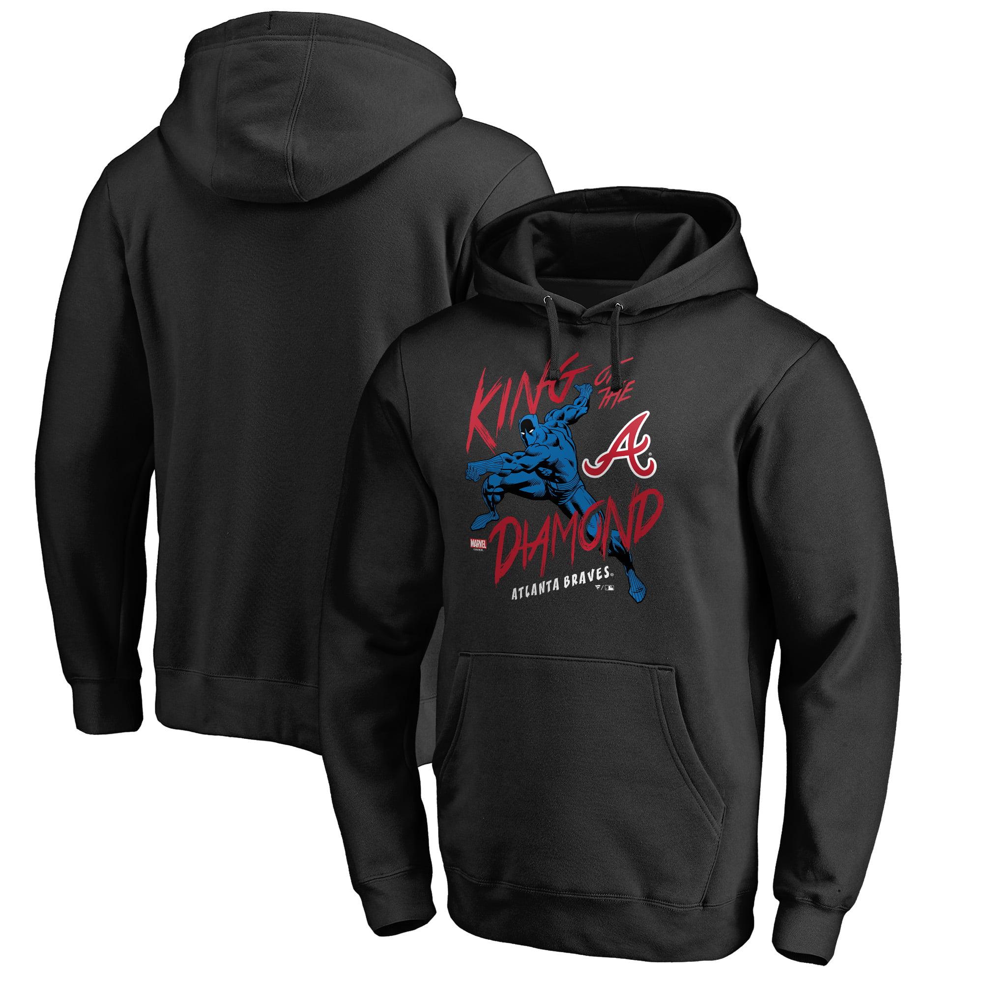Atlanta Braves Fanatics Branded MLB Marvel Black Panther King of the Diamond Pullover Hoodie - Black
