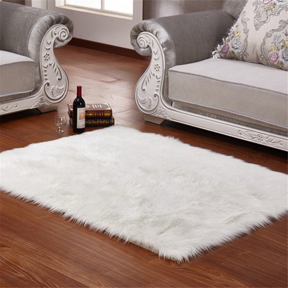FabricMCC Faux Sheepskin Area Rug Silky Shag Rug White Fluffy Carpet Rugs Floor Area Rugs Decorative for Living Room Girls Bedrooms 60x90cm---White