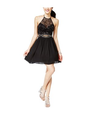 8e8712943ec Product Image B. Darlin Womens Cutout Illusion Fit   Flare Dress black  15 16 - Juniors