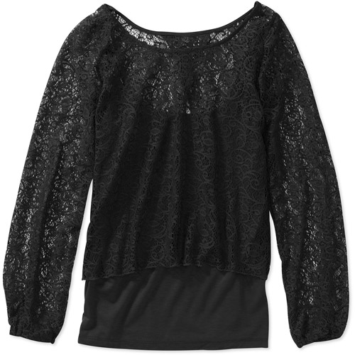 Derek Heart Juniors' Crochet Shrug 2fer Top