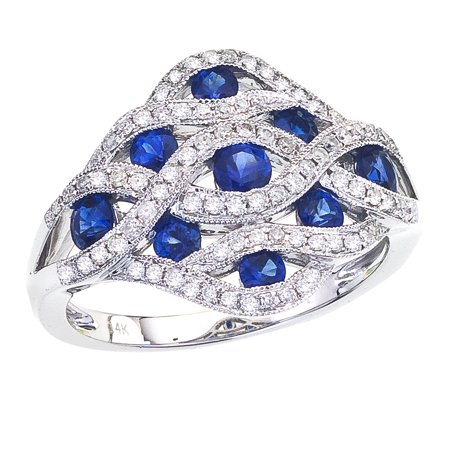 14K White Gold Flowing Sapphire Diamond Ring