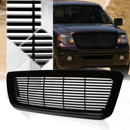 - Glossy Black ABS Horizontal Bar Billet Bumper Grille/Grill for 04-08 Ford F-150 05 06 07