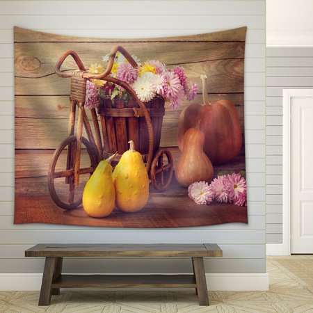 wall26 - Autumn Still Life - Pumpkins and Chrysanthemums Bunch - Fabric Wall Tapestry Home Decor - 68x80 inches - Pumpkin Life Cycle