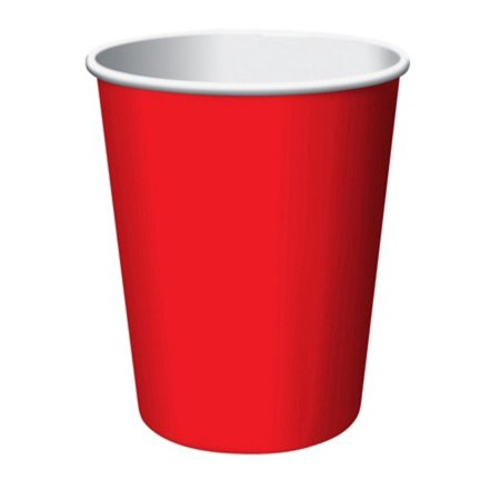 Club Pack of 192 Classic Fire Engine Red Disposable Paper Hot and Cold Drinking Party Cups 9oz. - Fire Engine Party