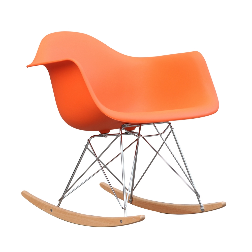 Fine Mod Imports Rocker Arm Chair-Color:Orange,Style:Contemporary/Modern