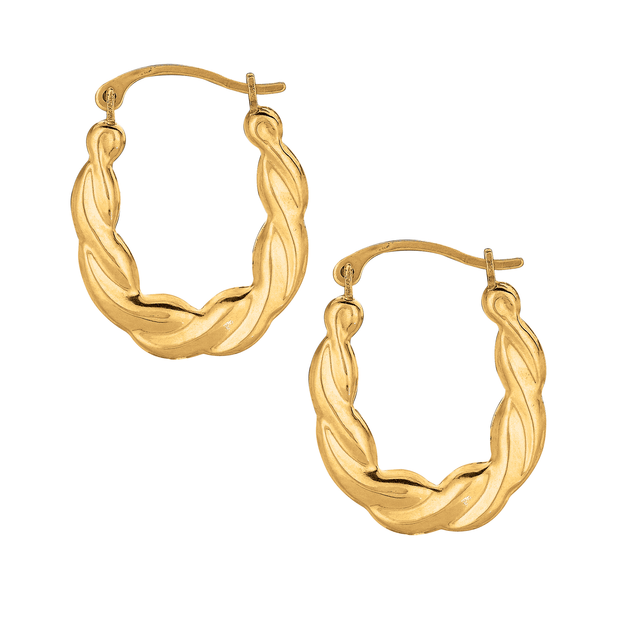 10K Yellow Gold Small Oval Hoop Earring