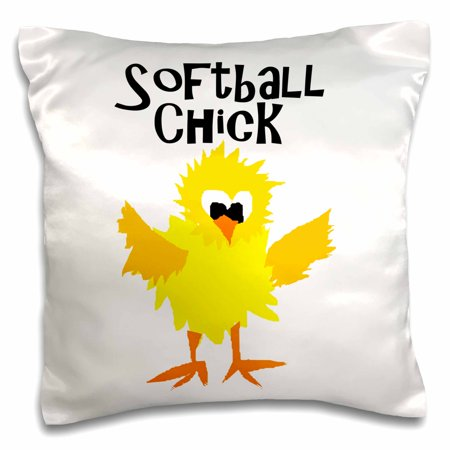 3dRose Funny Cute Softball Chick Softball Player - Pillow Case, 16 by (Softball Pillowcase)