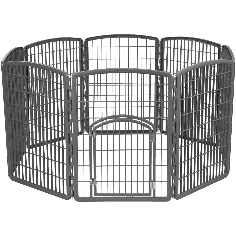 IRIS 34' Exercise 8-Panel Pet Playpen with Door, Gray