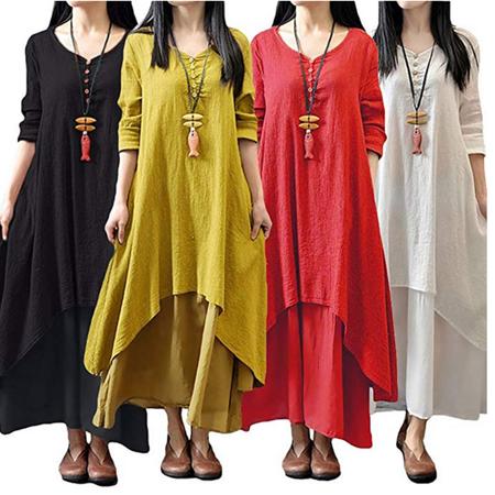 Cotton Peasant Dress - Multitrust Sexy Women Peasant Ethnic Boho Cotton Linen Long Sleeve Maxi Dress Gypsy Dresses