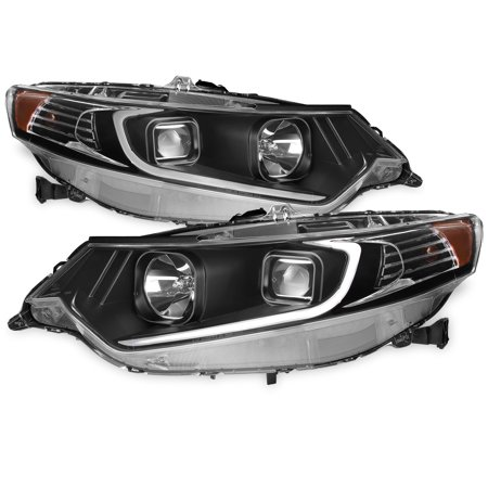 2009-2014 Acura TSX LED DRL Tube Projector Black Headlights Headlamps Left+Right