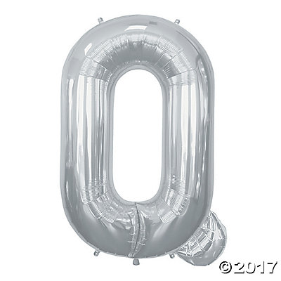 Q Silver Letter Mylar Balloon