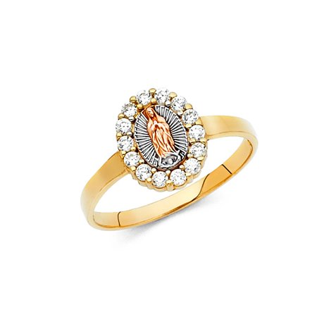Virgen Of Guadalupe Religious Oval Shape Prong Set CZ 10mm 14k Multi Colored Tri Tone Italian Solid Gold Ring Size 5 Available All
