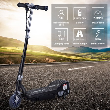 Gymax Rechargeable Electric Scooter 24 Volt Motorized Ride On Outdoor For Teens Black - image 1 de 10
