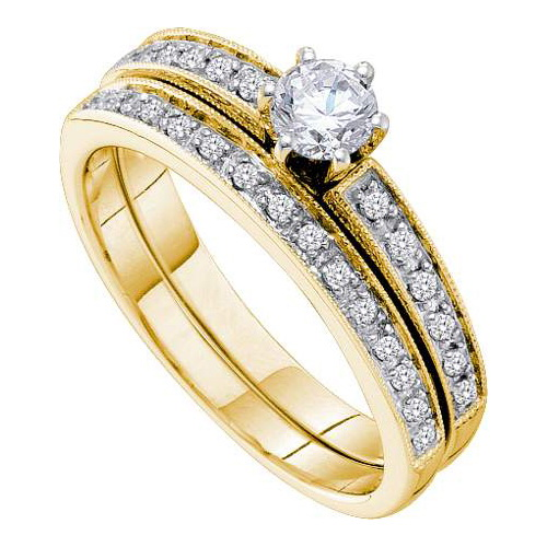 14K Yellow Gold 0.51ctw Elegant Pave Diamond Bridal Set Ring W 0.33ctw Center by Jewelrypot