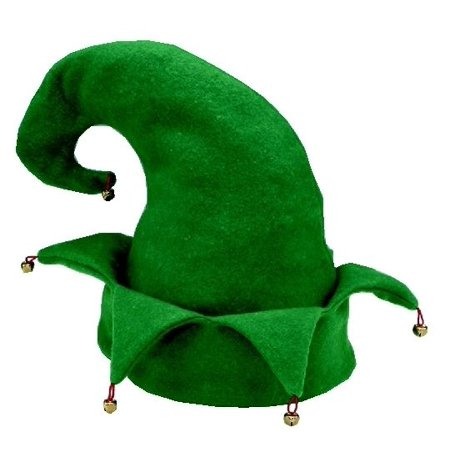 Christmas Santa'S Helper Elf Green Jester Hat W/ Bells Holiday Costume (Jolly Green Santa's Helper Christmas Costumes)