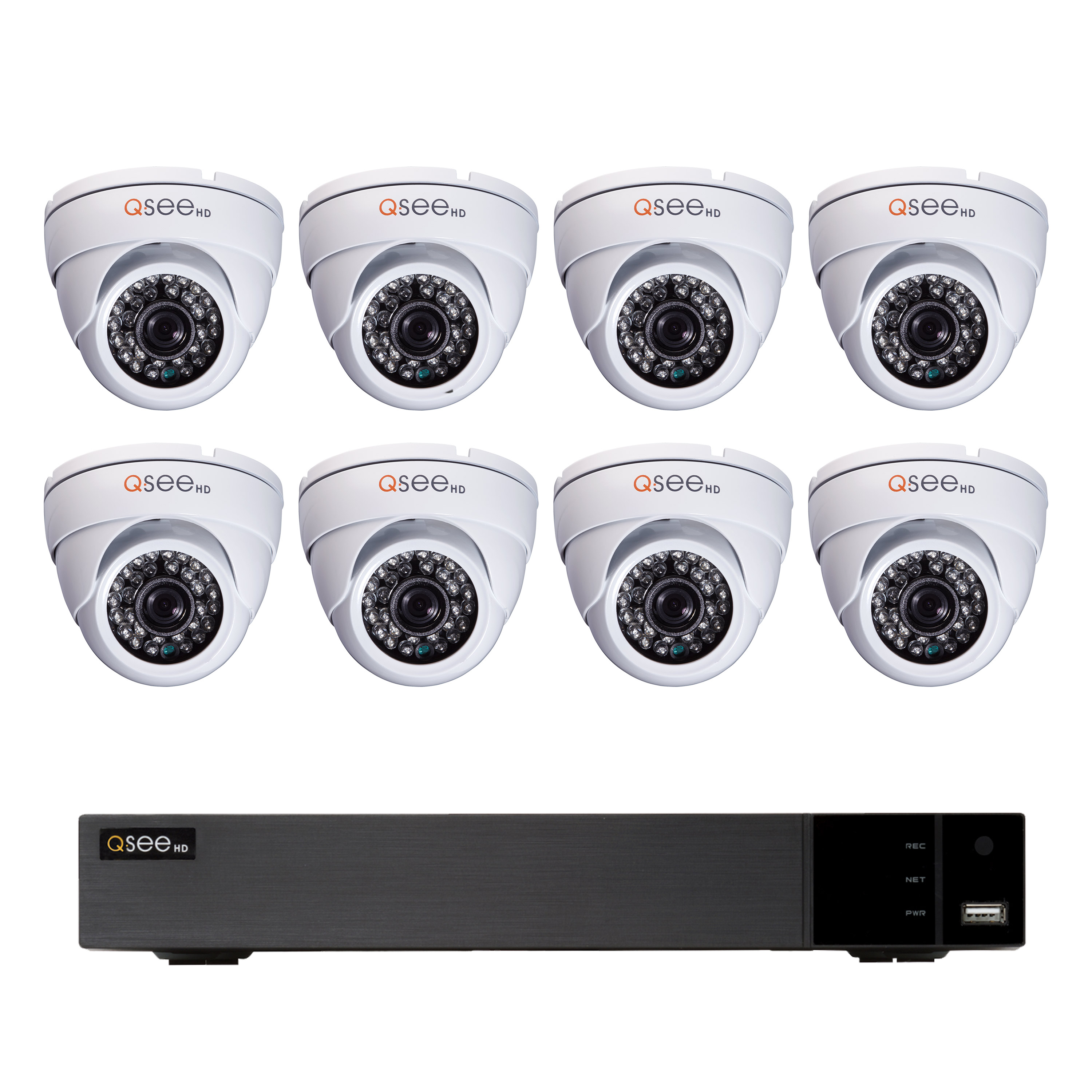 Q-See 16 Channel 720P DVR with 2TB Hard Drive and 8x 720P Dome Security Cameras