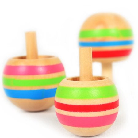Iuhan 3pcs Magic Tippe Top Self-inverting Spinning Spinner Wooden - Wooden Spinning Tops