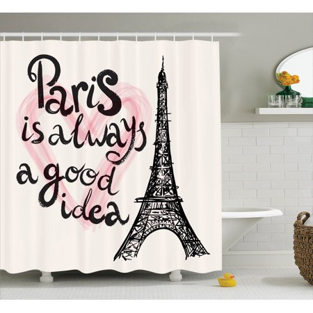 Eiffel tower decor shower curtain set lettering in heart for Eiffel tower bathroom accessories