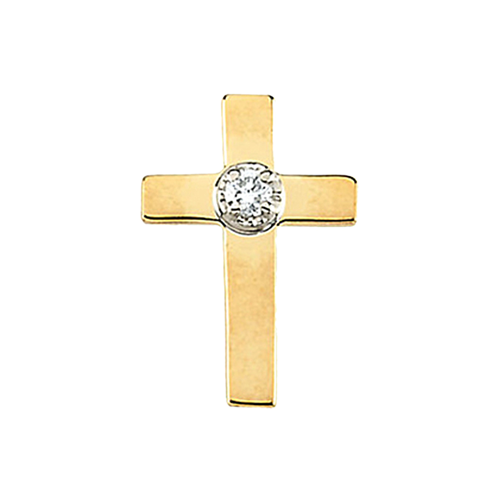 14K White And Yellow Gold White Diamond Latin Cross Pin Broach by