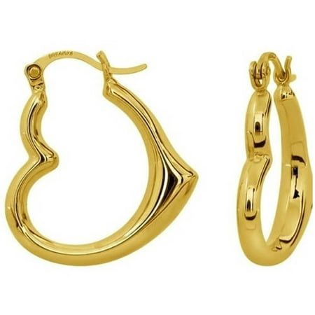 Solid 14kt Yellow Gold Heart-Shaped Hoop Earrings