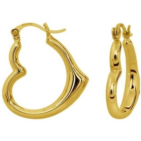 Solid 14kt Yellow Gold Heart-Shaped Hoop