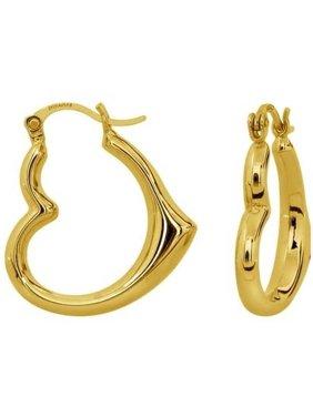 Solid 14kt Yellow Gold Heart-Shaped Hoop Earrings