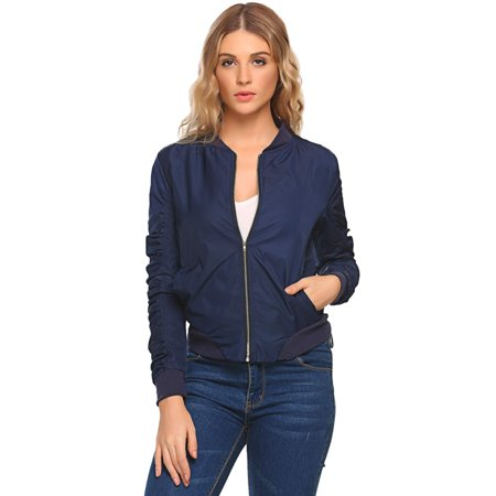 Women Fashion Ruched Long Sleeve Solid Zip-up Short Bomber Jacket