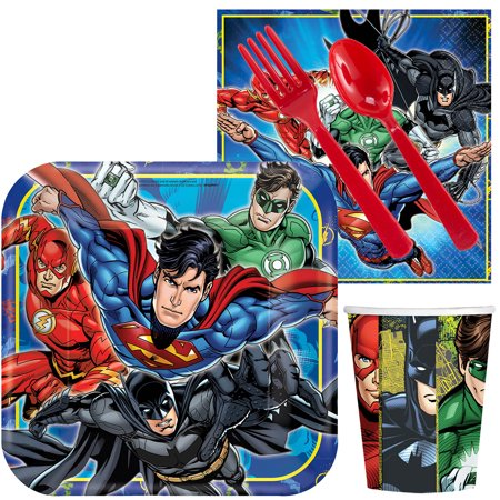 Justice League Birthday Party Luncheon Standard Tableware Kit (Serves 8) - Justice League Birthday Supplies