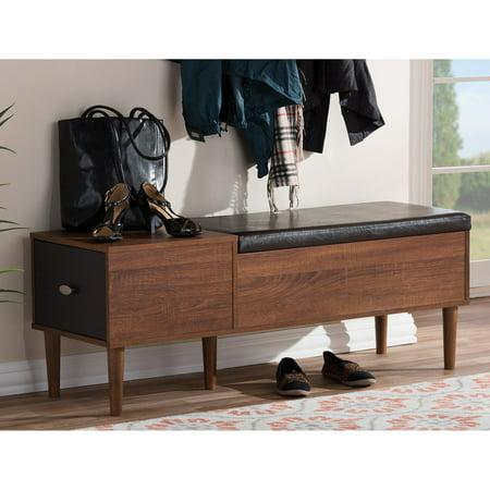 Baxton Studio Merrick Entryway Cushioned Bench Shoe Rack Cabinet ()