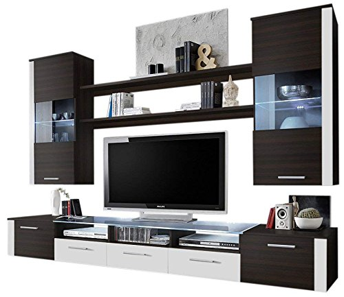 Ferio Modern Entertainment Center Wall Unit Tv Stand With Led Lights