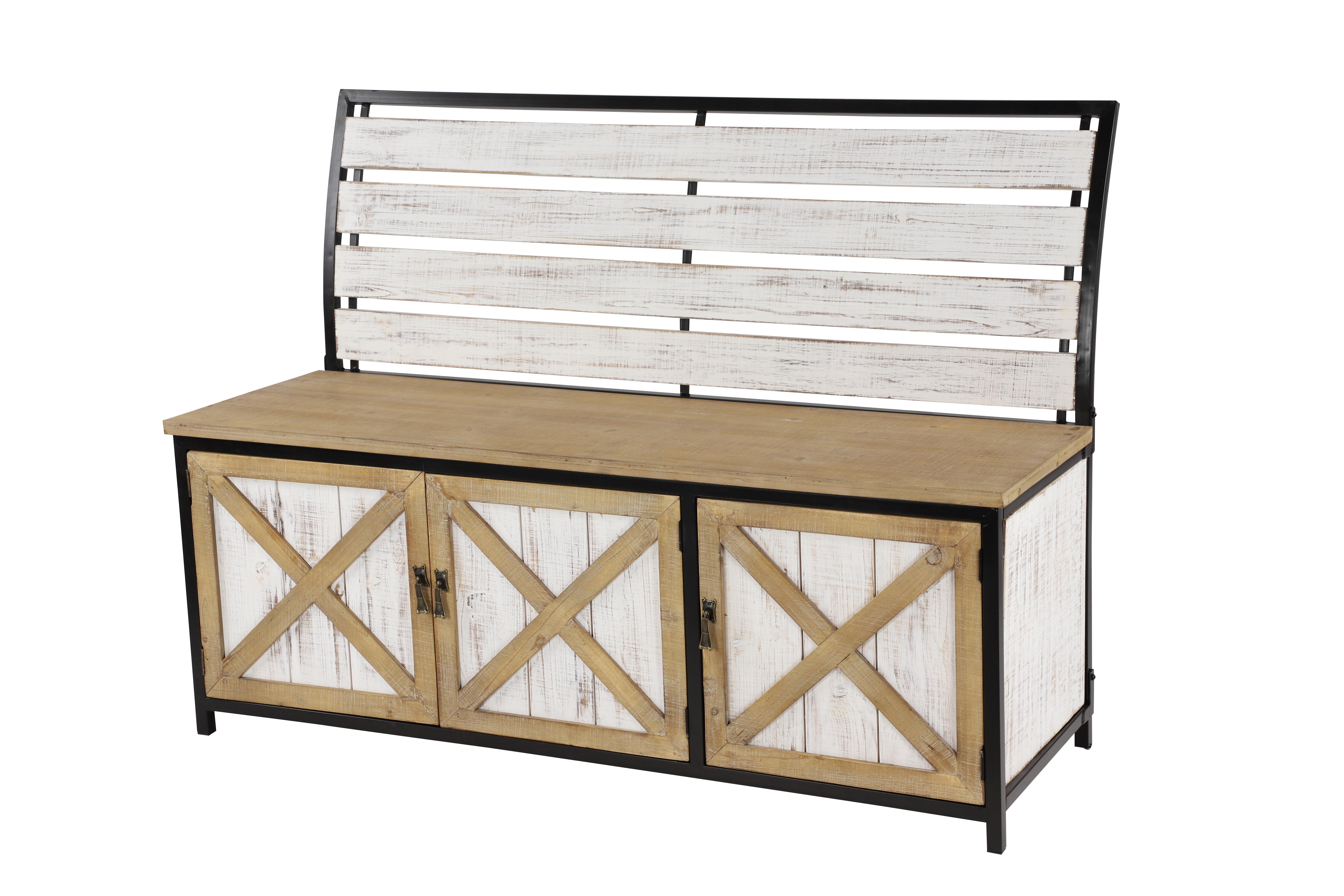 Decmode Natural White Black Iron Wood Storage Bench W Seat Back 48 X 35 Walmart Com Walmart Com