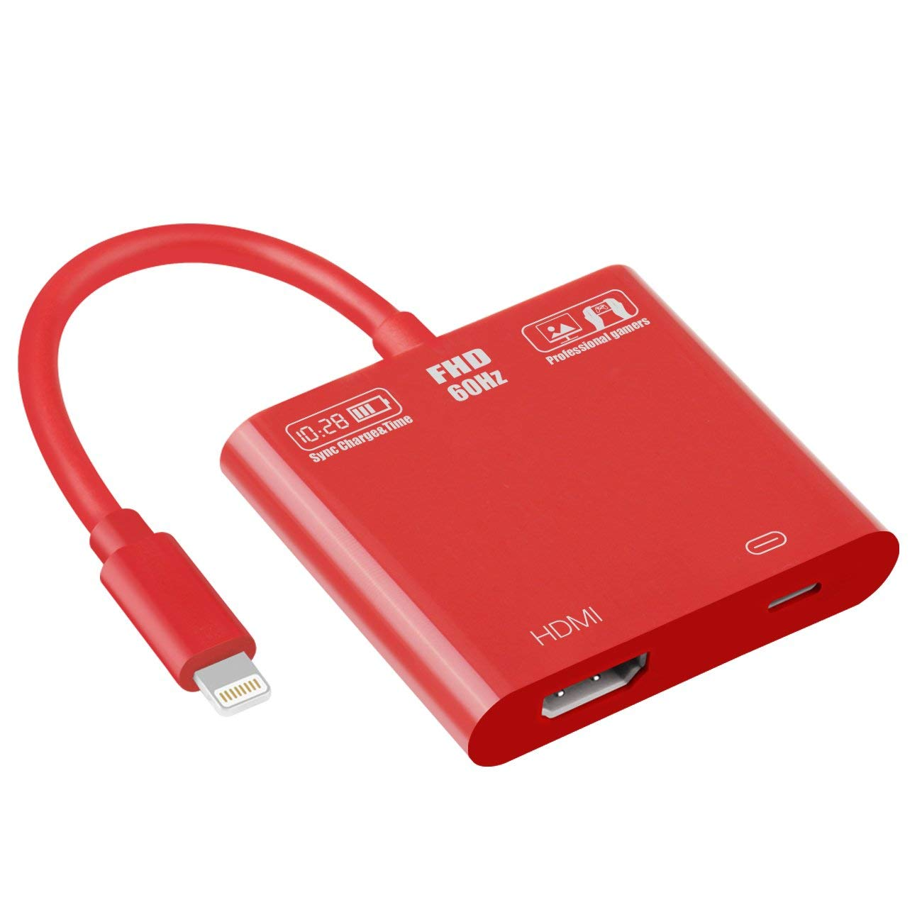 Lightning to HDMI Adapter, 1080P 8 Pin Lightning to Hdmi Female Video Adapter Digital AV Adapter for iPhone/iPad/IPod Models (red), I0367