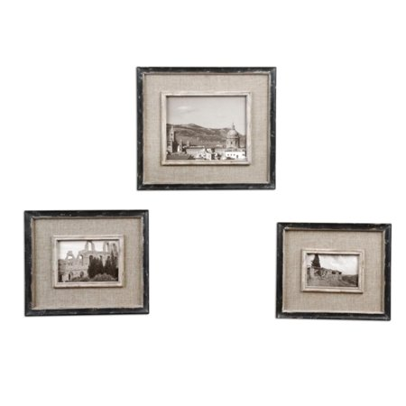 Set Of 3 Distressed Black And Burlap 4x6 5x7 8x10 Photo Picture