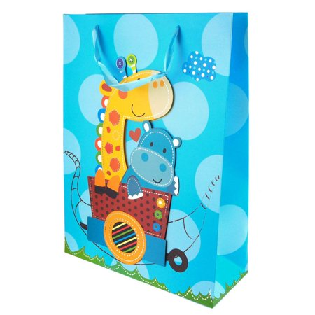 Giraffe/Hippo Train Ride Circle Dots Baby Shower Paper Gift Bags, Blue, 16-Inch, - Baby Shower Bags
