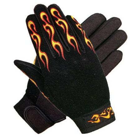 Xelement XG148459 Mens Black Textile Mechanical Fabric Flaming Fingers Gloves