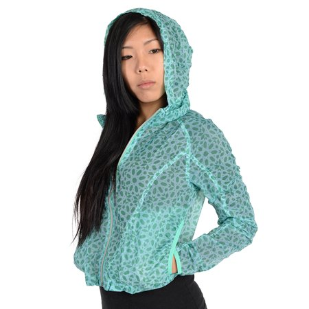 f90673f94f106 Adidas Womens Pattern Lightweight Windbreaker Jacket Aqua M ...
