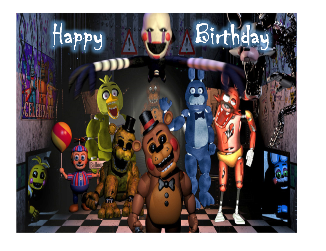 Five Nights At Freddys Edible Cake Topper Image for 14 sheet cake