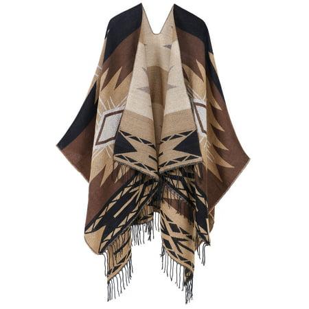 ANDORRA Vintage Soft Merino Wool Kimono Wrap Cardigan w/ Tassels,khaki ()
