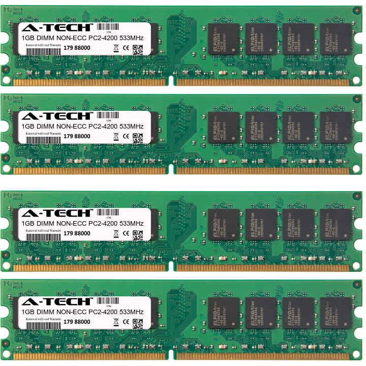 4GB Kit 4x 1GB Modules PC2-4200 533MHz NON-ECC DDR2 DIMM Desktop 240-pin Memory Ram
