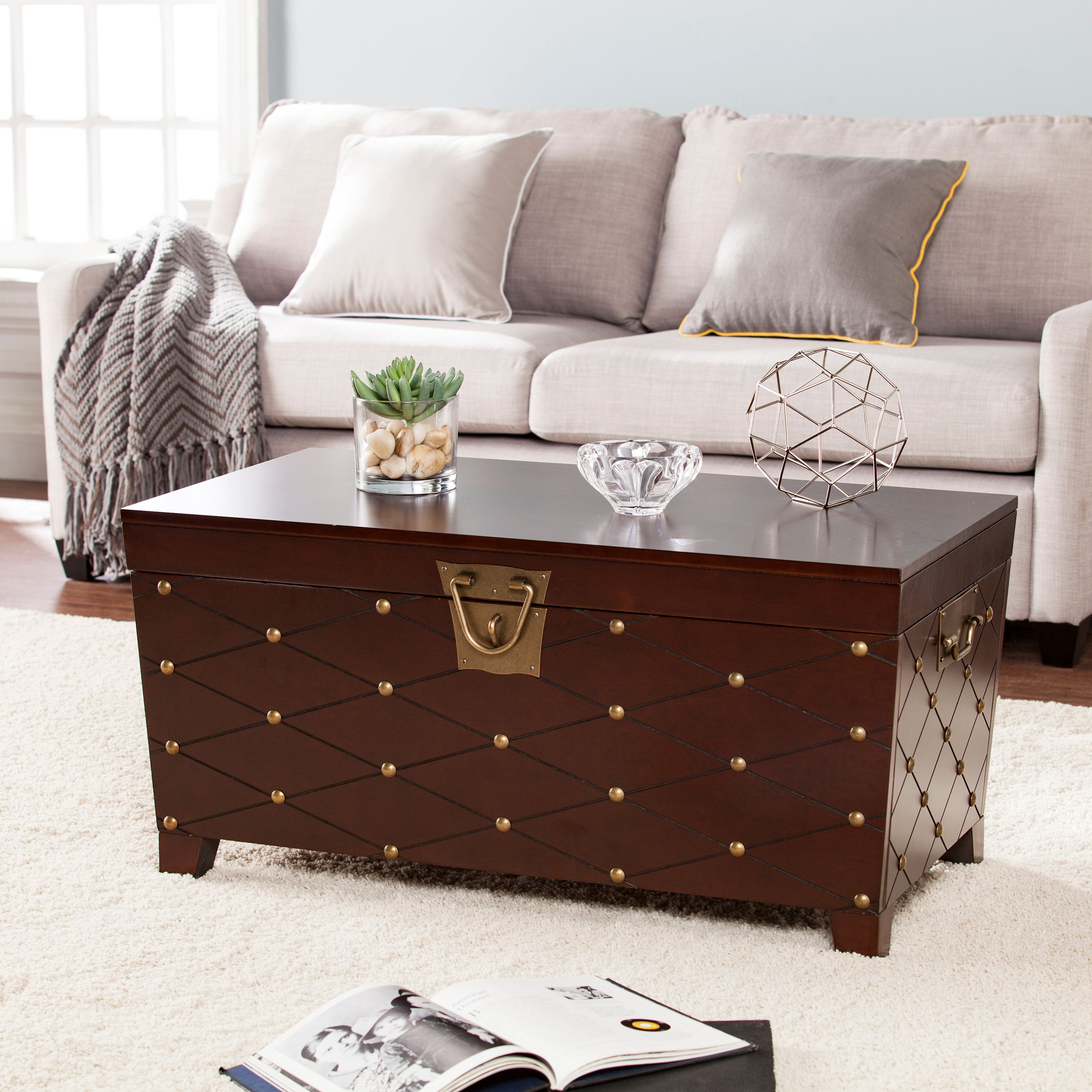 Fabulous Longwood Nailhead Coffee Table Trunk Espresso Walmart Com Onthecornerstone Fun Painted Chair Ideas Images Onthecornerstoneorg