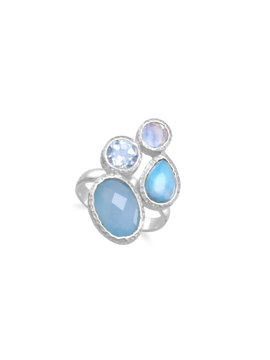 Blue Dyed Chalcedony, Larimar, Blue Topaz, and Moonstone Ring Sterling Silver by unknown
