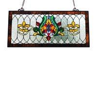 River of Goods Stained Glass Fleur De Lis Pub Window Panel