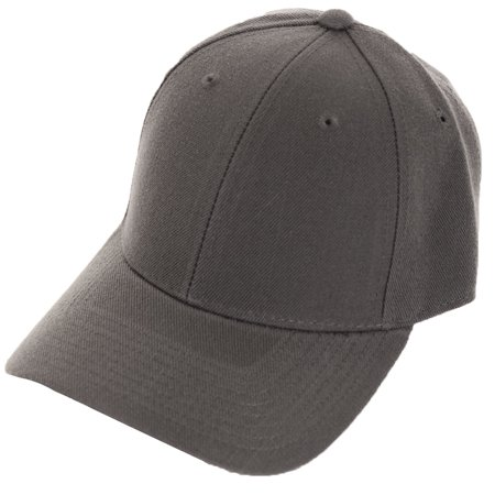 new concept a2a86 41cef Decky - Decky Men s Fitted Blank Curved Brim Baseball Hat Cap - Walmart.com
