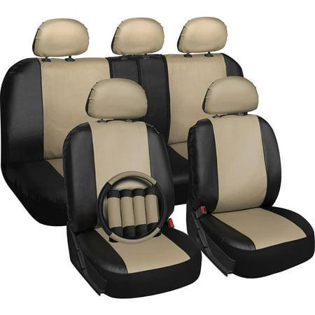Oxgord 17 Piece Set Faux Leather Auto Seat Covers Set