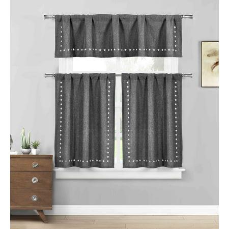 gray 3 pc. kitchen/cafe tier window curtain set: stars cut-out pattern - walmart